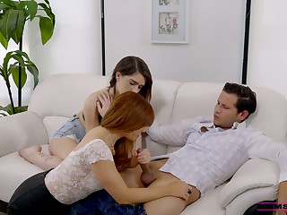 Skilled stepmom Joseline Kelly teaches her stepson how to think the world of GF's hairy snatch