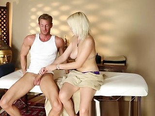 Hot tow-haired with braces gives a blowjob
